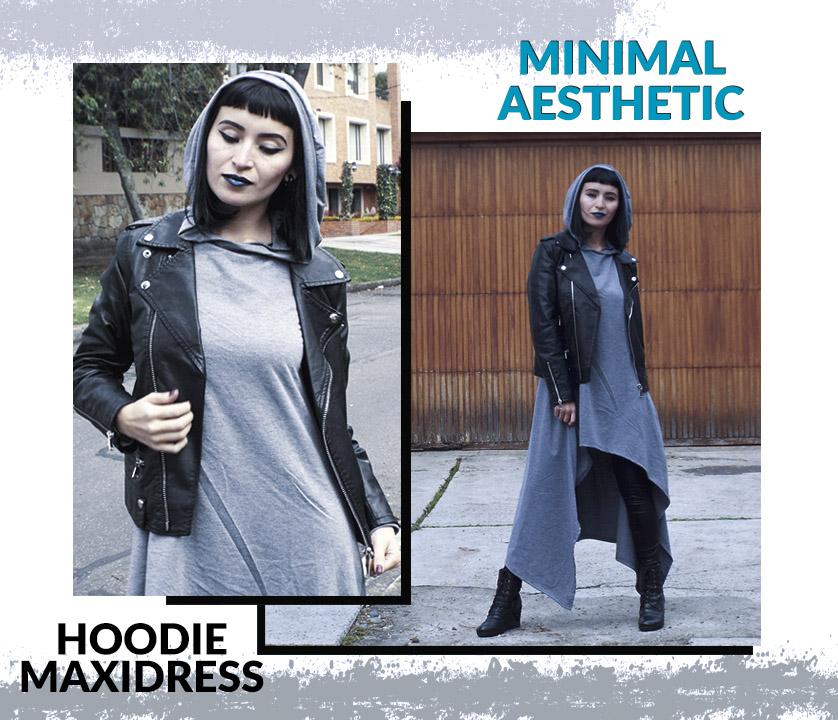 Grey Goth: Estetica minimalista con grandes hoodies y maxivestidos asimetricos.
