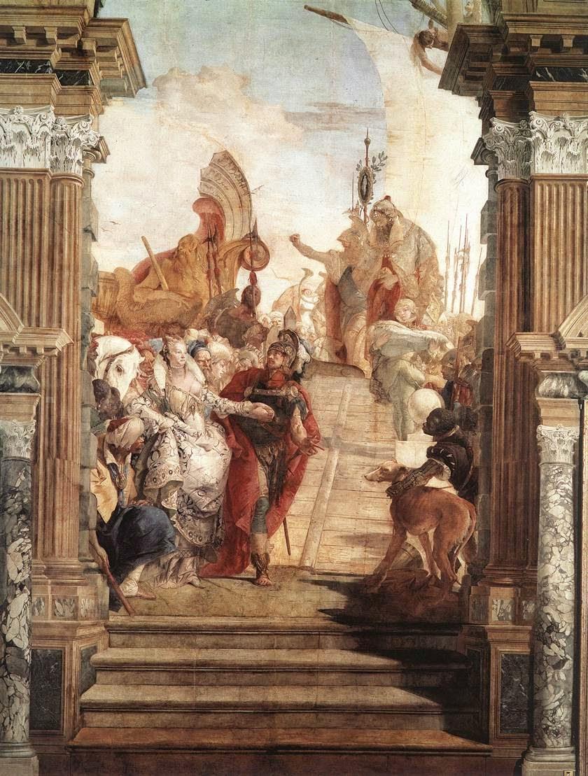 Tiepolo's fresco of The Meeting of Anthony and Cleopatra, the ballroom (Sala di Ballo), Palazzo Labia, Venice