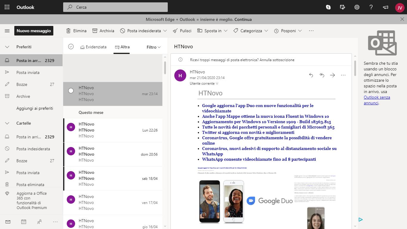 Microsoft promuove il browser Edge in Outlook.com
