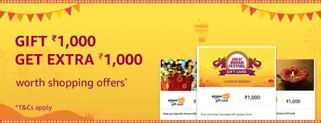 Amazon offer:- get Rs 1000 cashback on buying gift card up to Rs 1000.