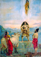 lord shiva trying to hold river Ganges from hitting the earth
