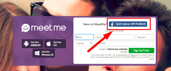 login to meetme with facebook