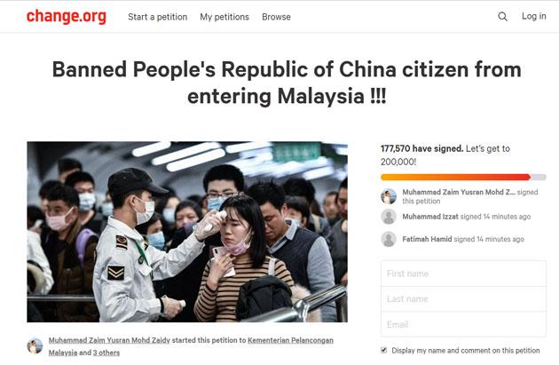 177,560 rakyat sign petisyen desak Putrajaya sekat kemasukan pelancong China