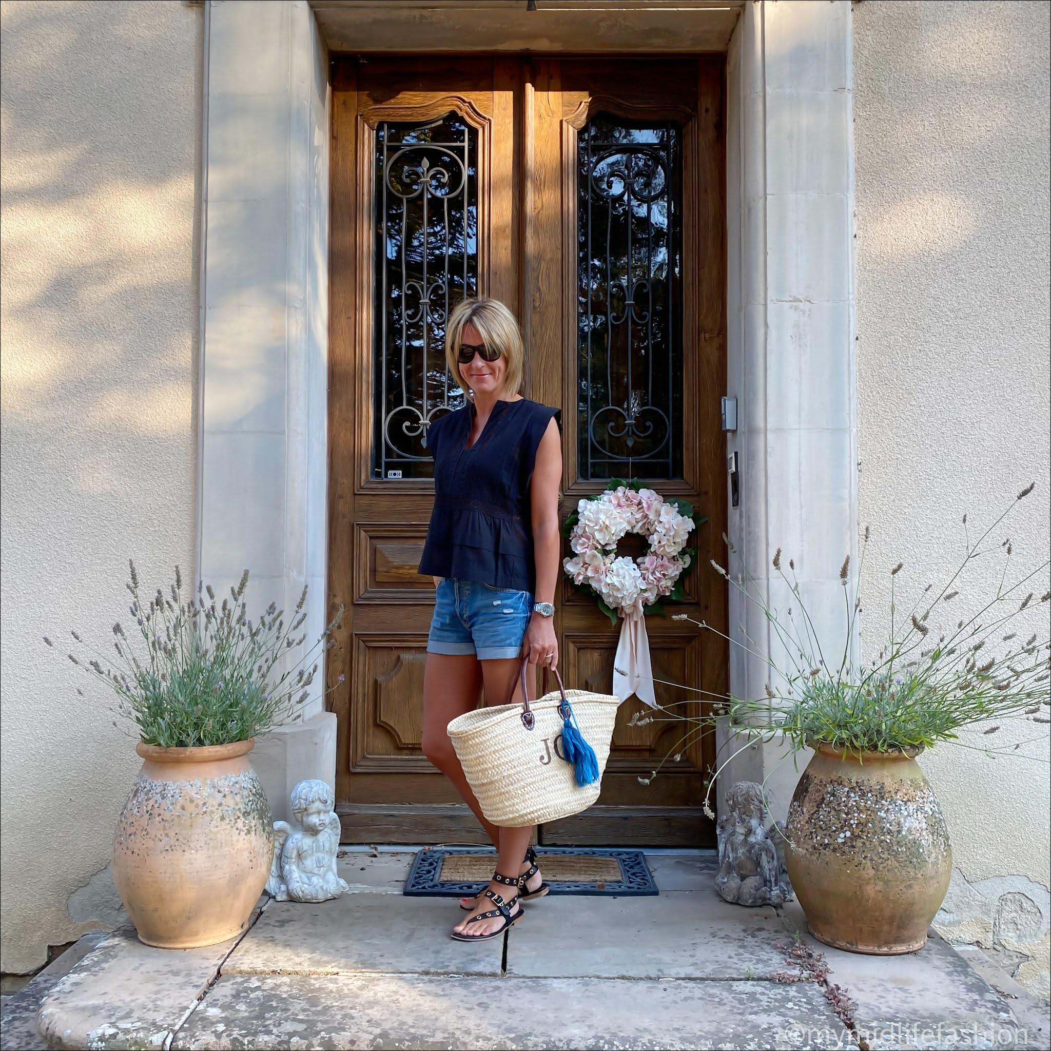 my midlife fashion, h and m conscious denim shorts boyfriend, Isabel Marant Etoile cotton top, initially London covent monogrammed basket, iro Paris eyelet leather sandals