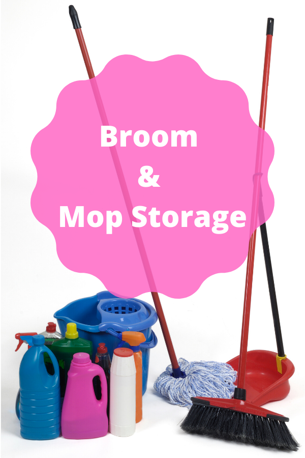 Broom and mop storage ideas that include some DIY hacks to help organize your brooms.