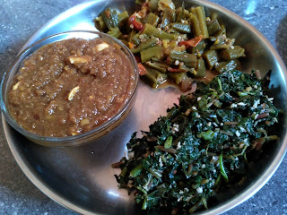 Little millet Ukkaarai, Amaranth greens poriyal, Ladies finger Amaranth stem mandi