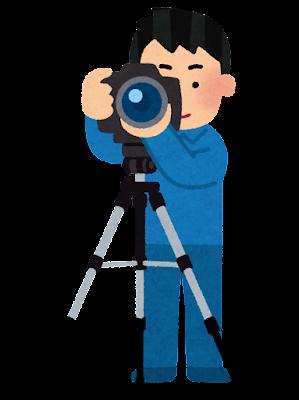 三脚で撮影をする人のイラスト