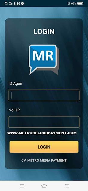 Login MR Mobile Topup Aplikasi Metro Reload Pulsa