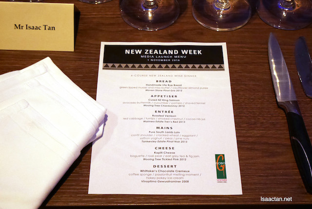 My 6-course dinner that night, paired with New Zealand Wine
