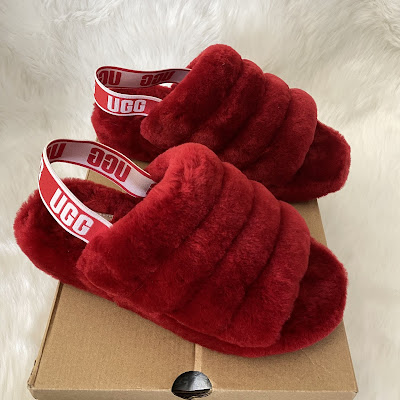 ugg fluff yeah sandal ribbon red