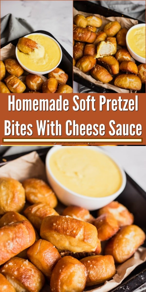 Homemade Soft Pretzel Bites With Cheese Sauce #appetizerrecipes