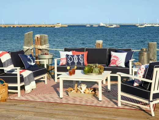 White and Navy Blue Outdoor Lounging Furniture