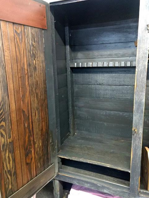 clear coat a primitive cupboard