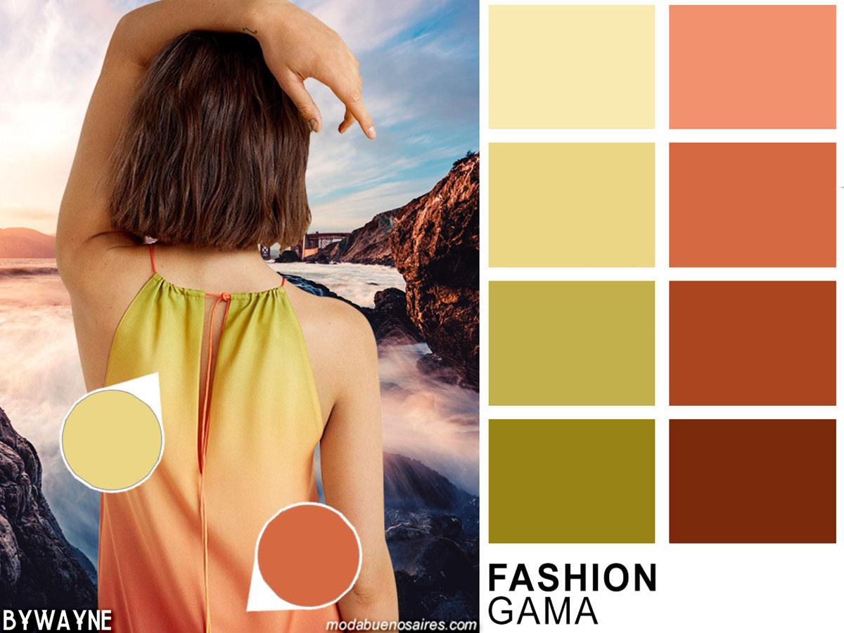 Gama de rosas y amarillos tenues, colores de moda primavera verano 2020.