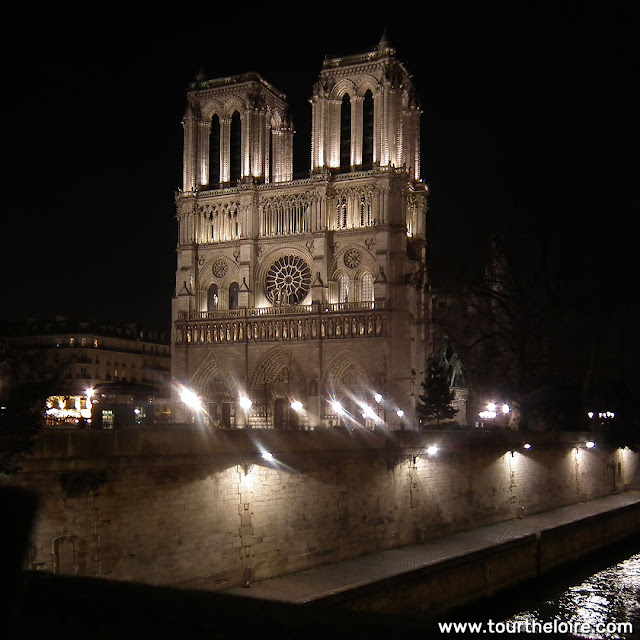 Notre-Dame de Paris, at night, before the fire. Paris. France. Photographed by Susan Walter. Tour the Loire Valley with a classic car and a private guide.