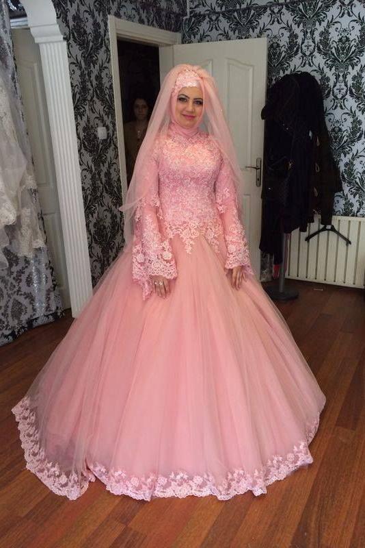 Pink Hijab Wedding Bridal Ide Busana Pengantin Muslim Dzargon