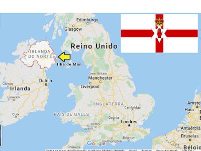 Países pequenos promovidos pelo futebol- Localização da Irlanda do Norte no mapa.