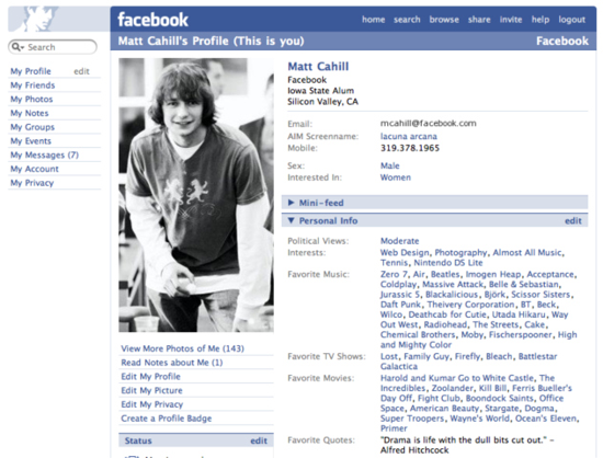 Facebook profile page 2006