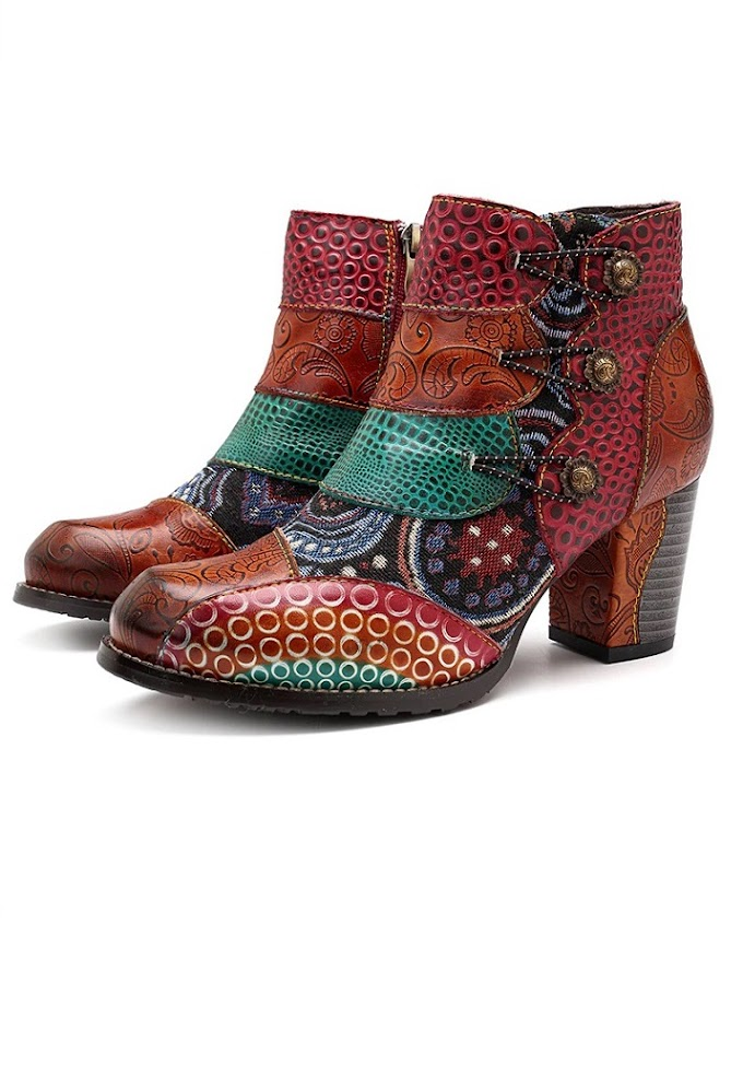 Socofy Vintage Splicing Printed Ankle Boots Woman Genuine Leather Retro