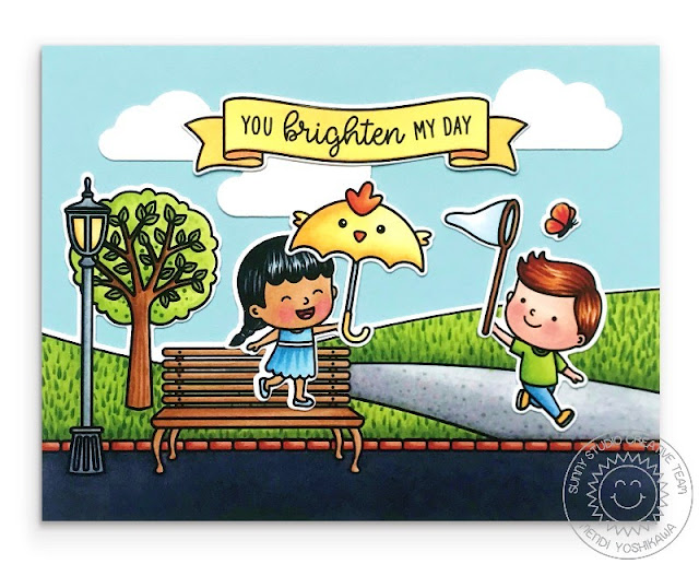 Sunny Studio Blog You Brighten My Day Kids in Park Scene Card (using Spring Scenes, Spring Showers & Banner Basics Stamps)