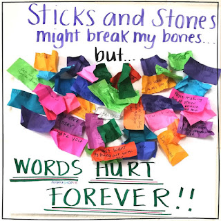 Words hurt us anti bullying SEL activity to promote kindness in the classroom