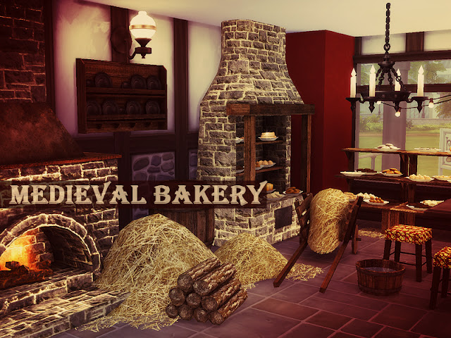 Medieval Bakery Средневековая пекарня для The Sims 4 Каменные предметы, из натурального дерева - прямо из средневекового замка. Может использоваться в имитации старого квартала или тематической закусочной. 16 объектов для бизнеса и различной высоты потолка. Автор: Kiolometro