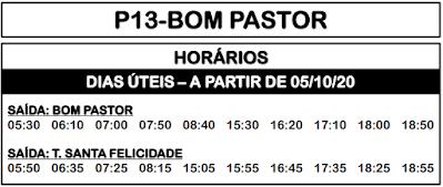 P13 BOM PASTOR 2020 | Horário de ônibus | Campo Magro PR