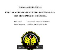 Analisis Jurnal Pendidikan Kewarganegaraan Kebijakan Pendidikan Kewarganegaraan  Era Reformasi Di Indonesia