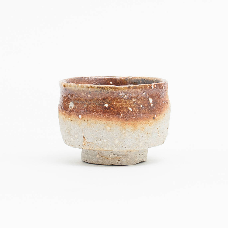 Erik Haugsby Pottery | Woodfired ceramic guinomi, shot glass, handmade pottery, for sake, alcohol, or liquor