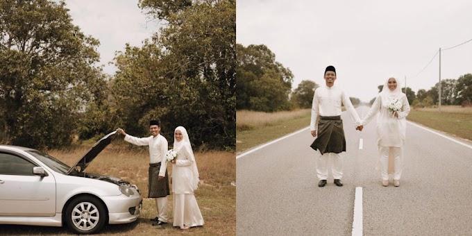Pasangan Pengantin Hasilkan 'Photoshoot' Kreatif Ini Selepas Kereta Rosak Di Tepi Jalan