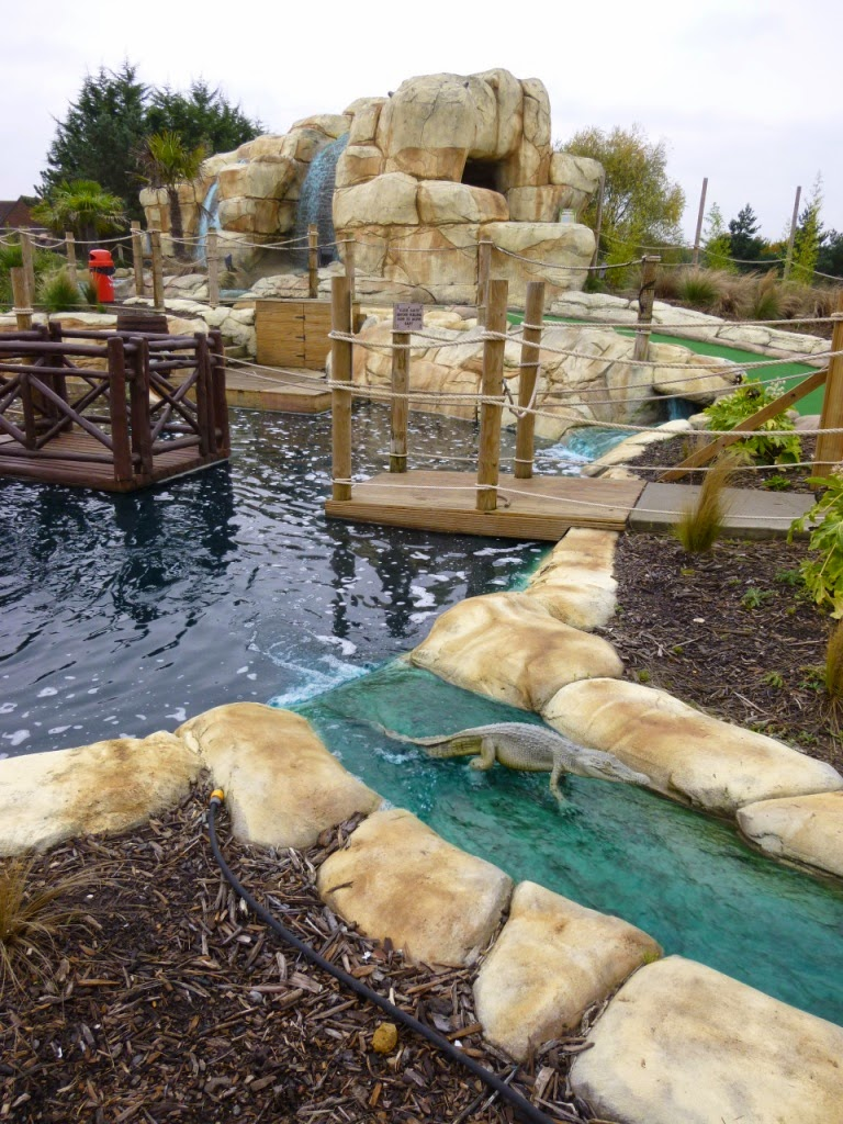 An Adventure Golf crocodile, or alligator, at the Jungle Island Adventure Golf course at Horton Park Golf Club in Epsom, Surrey