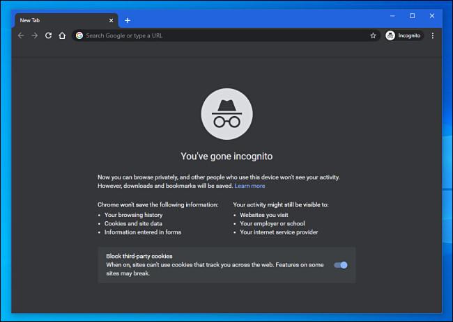 نافذة وضع التصفح المتخفي في Google Chrome
