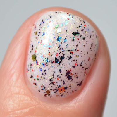 color shifting flakie nail polish close up swatch
