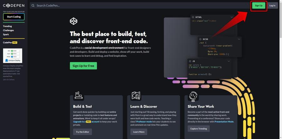 CodePenに登録ステップ1イメージ