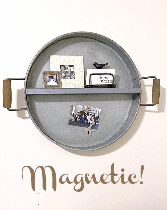 Magnetic round farmhouse shelf from a tray