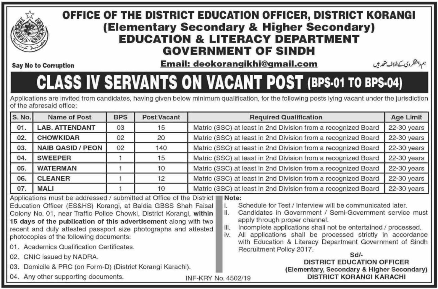Education & Literacy Department Sindh Jobs 2019 Latest