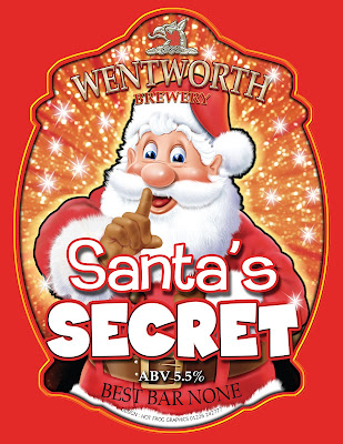 Image shows artwork by Hot Frog Graphics for Santa's Secret beer clip