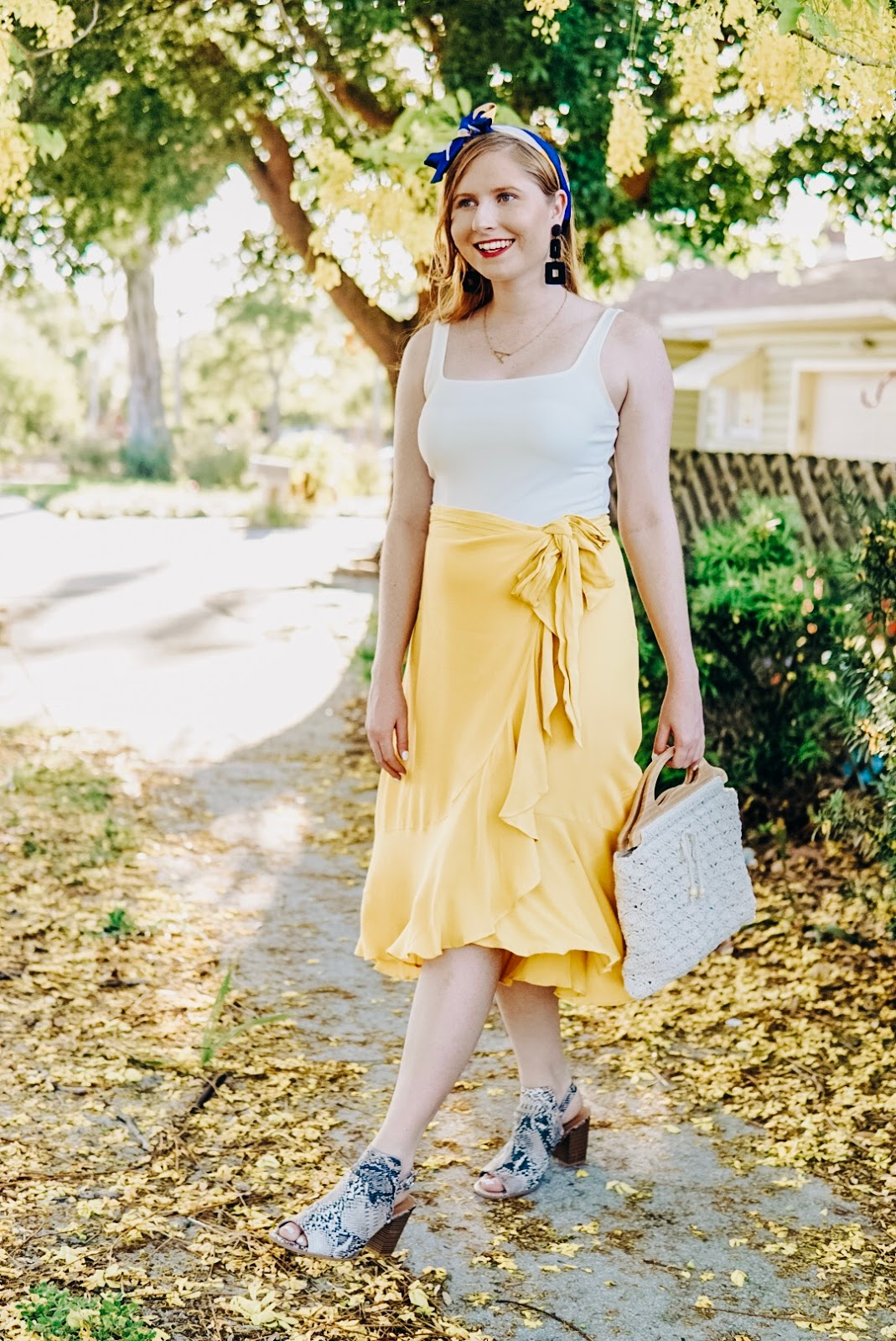 Styling a Casual Yellow Wrap Midi Skirt for Summer | Affordable by Amanda Tampa Blogger | Misred Outfitters