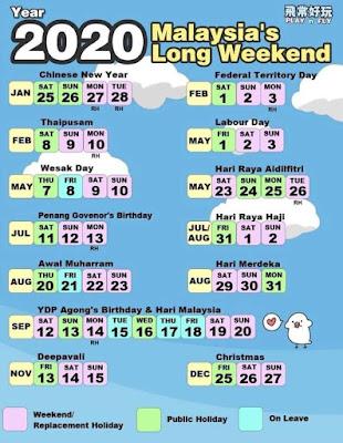 Kalendar cuti panjang hari minggu tahun 2020