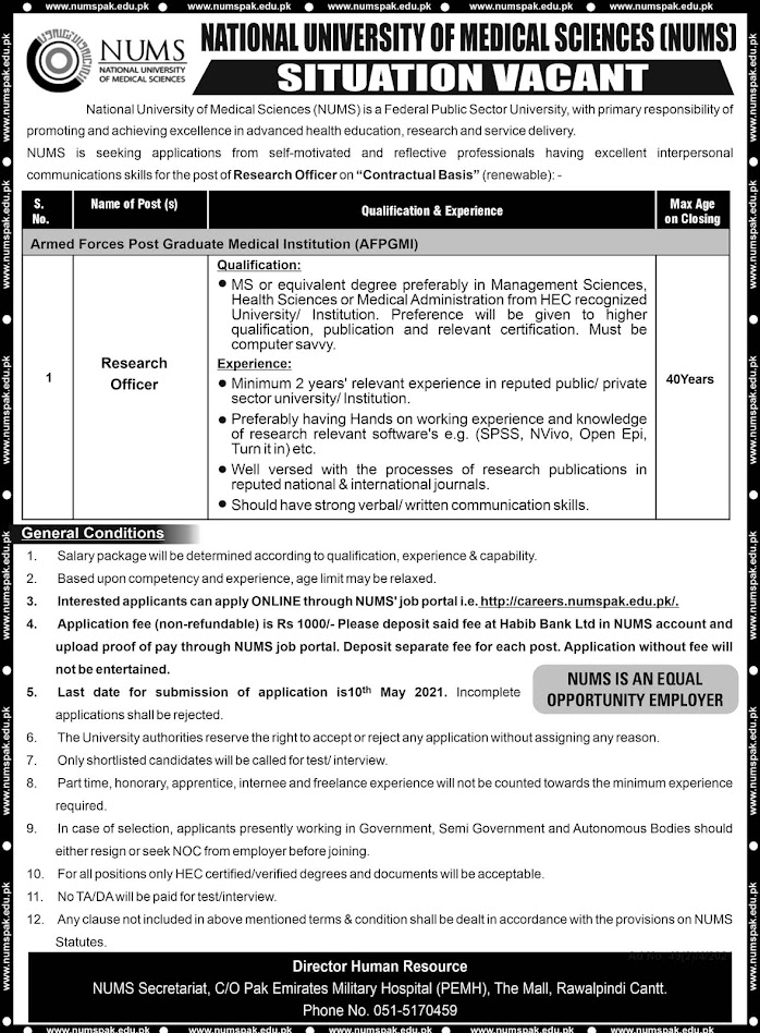 Latest Jobs in National University of Medical Sciences NUMS April-2021
