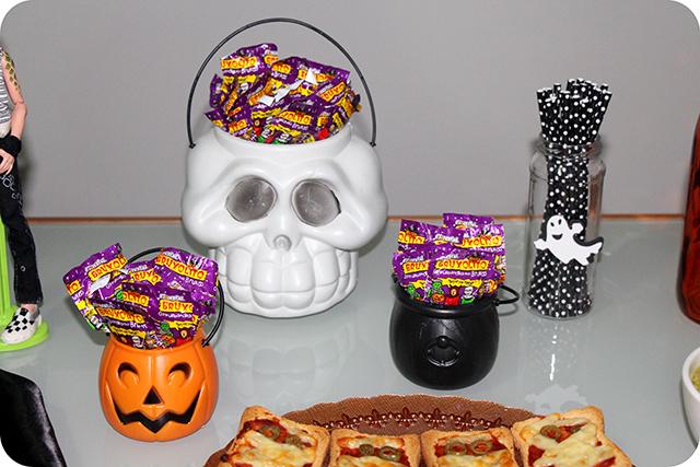 Decoração Festa de Halloween : Potes de Caveira, Abóbora e Caldeirão com Pirulitos