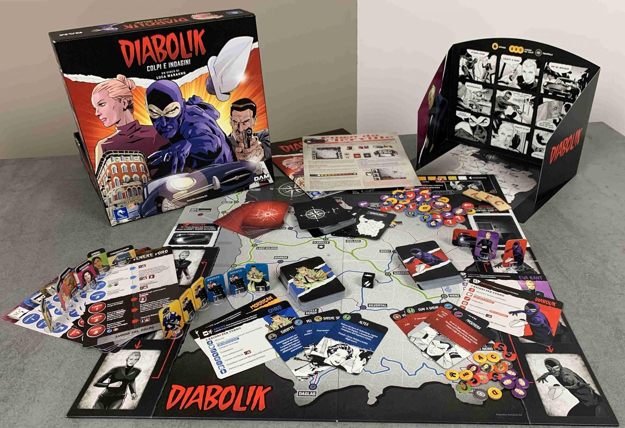 Diabolik - Colpi e Indagini, il gioco da tavolo di Diabolik recensione