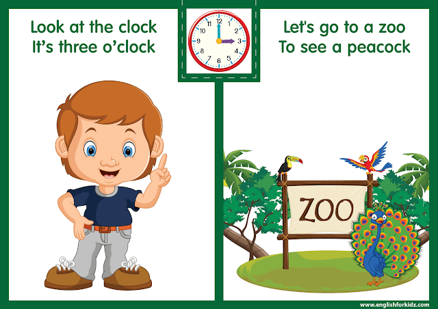Telling the time worksheet - three o'clock on the clock - printable ESL resources