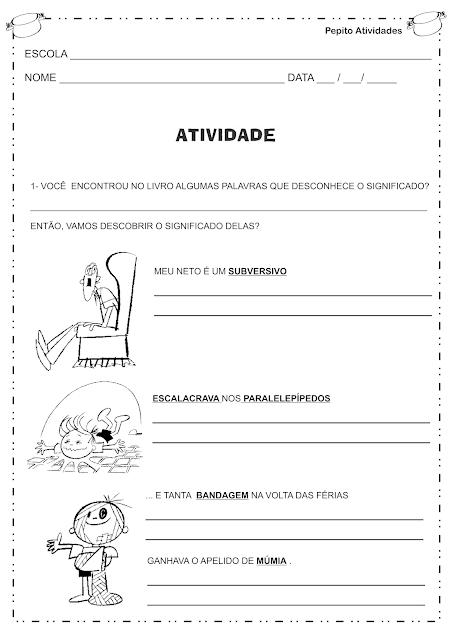 """Atividades baseadas na história de Ziraldo """"O MENINO MALUQUINHO"""" para 2° ano"""