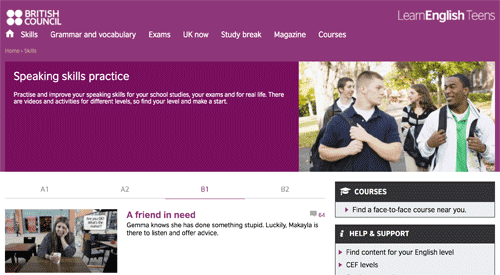 Videos with leveled exercises on the British Council website
