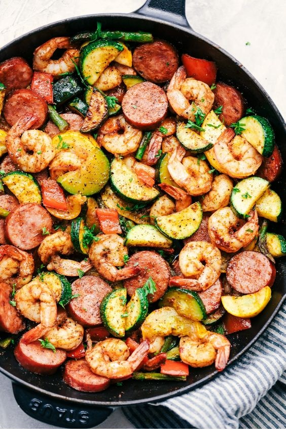 Cajun Shrimp And Sausage Vegetable Skillet