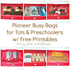 LDS Pioneer Busy Bags for Tots and Preschoolers with Free Printables.