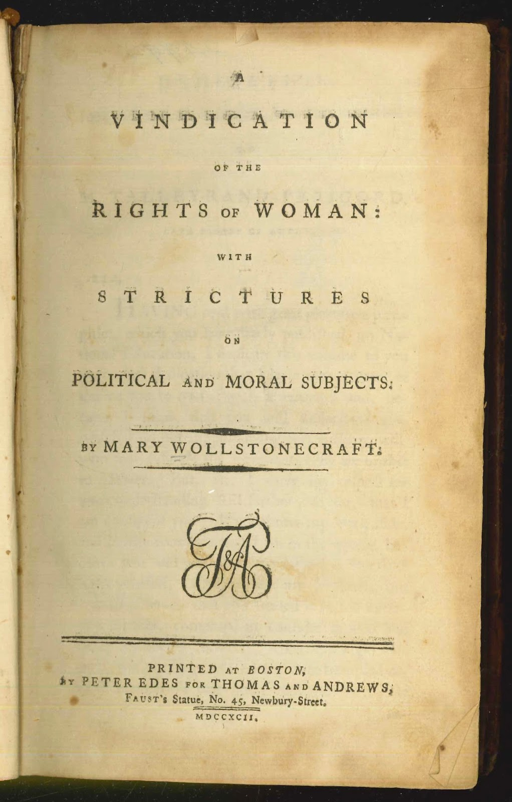 "A title page for ""A Vindication of the Rights of Woman."""