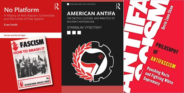 Book covers of No Platform by Evan Smith, American Antifa by Stanislav Vysotsky, and Philosophy of Antifascism by Devin Zane Shaw