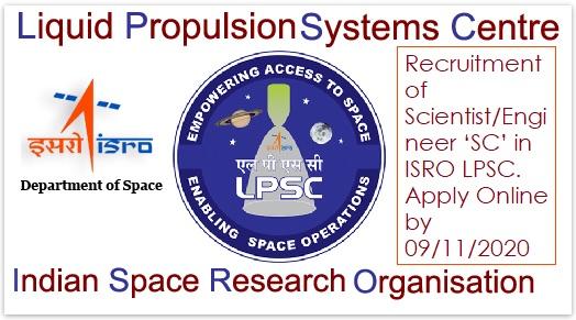 ISRO LPSC Scientist Vacancy Recruitment 2020